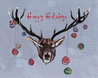 Happy Holidays Deer  Greeting