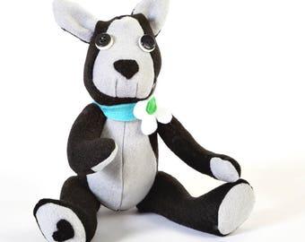 dog teddy bear - heartfelt dog - teddy bear - boston terrier