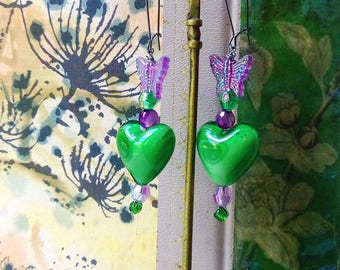 All Heart Earrings, Butterfly, Green, Purple, Beaded Earrings, Pretty, Glass hearts, Boho, Romantic