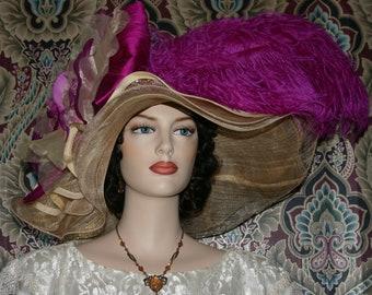 Kentucky Derby Hat Ascot Edwardian Tea Party Downton Abbey Hat Women's Fuchsia Pink Hat Gold Hat One of a Kind  - Fuchsia Sunset