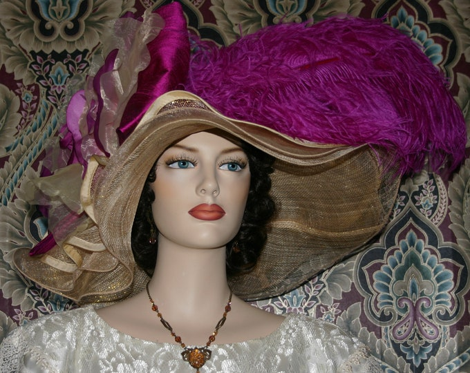 Featured listing image: Kentucky Derby Hat Ascot Edwardian Tea Party Downton Abbey Hat Women's Fuchsia Pink Hat Gold Hat One of a Kind  - Fuchsia Sunset