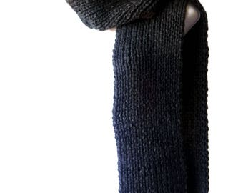 Pure Merino Wool Chunky Knit Scarf Charcoal Black ALLIE Men Woman - Ready to Ship Winter