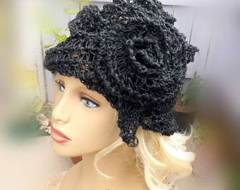 Crochet Sun Hat for Women, Floppy Sun Hat, Floppy Hat, Womens Hat, Hemp Hat, Black Hat, Ombretta Black Flower Hat
