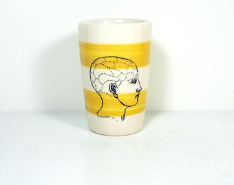 itty bitty cylinder / vase / cup with a Phrenology print on Lemon Butter Yellow stripes READY TO SHIP