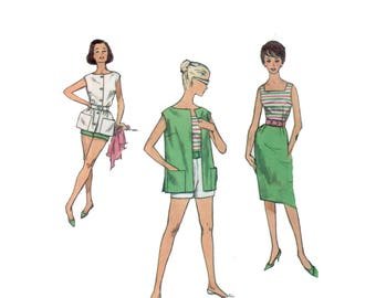60s uncut Fitted Top and Pencil Skirt pattern SALE vintage 34-26-36 Shorts and Coverup pattern Simplicity 3937