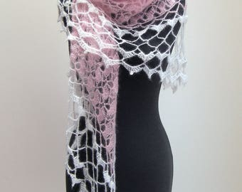 SALE - Crochet Lace Shawl Scarf Wrap Cowl, Wedding Bridal Prom, Pale Pink White, Mohair Silk, FREE SHIPPING Ready to Ship