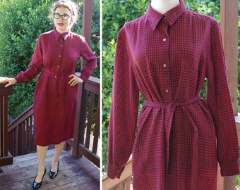 Deep PLAID 1960's Vintage Red + Navy Blue Wool Shift Dress with Long Sleeves + Belt // by Donald DAVIES of Dublin