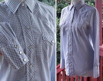 DOVE Gray 1970's Vintage Light Gray + White Gingham Western Cowboy Shirt with Pearl Snaps // by H Bar C // size 32 34 Small