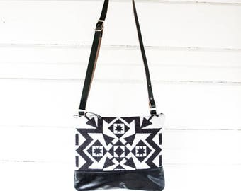 Small Drew Leather and Wool Crossbody Bag
