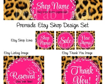 Leopard Etsy Banner, Cover Photo, Animal Print Shop Banner, Diamond Etsy Banner, Glitter Shop Banner, Pink Shop Banner, Wild Etsy Banner