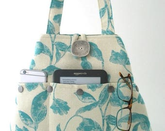fabric shoulder bag, tote purse, unique bag ,Turquoise tote, hobo bag, vegan bag, Turquoise handbag, tote  bag with pockets