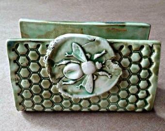 Ceramic Sponge Holder, Business Card Holder Moss green Bee