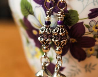 Mini Purple Crystal Earrings with Silver Tone Rose Dangling Boho Gypsy Style