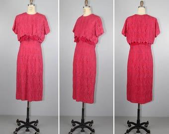 vintage dress / velvet / SAKS FIFTH AVENUE / 1960s / pink / lace dress