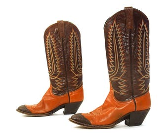Dan Post Cowboy Boots Vintage Two Tone Brown Leather Tall Pull On Western Boots with Stitching Tapered Heel Leather Soles Women's size 9