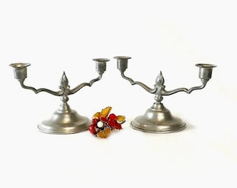 Pair Pewter Candelabras, 2 Arm Candle Holders, Primitive Candlesticks, Vintage Rustic Lighting, Cottage Chic Home Decor