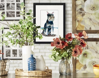 Original schnauzer watercolor | animal art | dogs | lady and the tramp | wall decor | watercolor animals | blue abstract | dog lovers