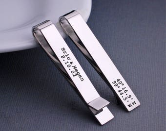 Latitude Longitude Tie Clip, Gift for Husband, Custom Tie bar, Wedding Gift for Husband, Coordinates Tie Clip