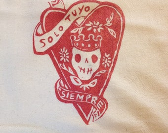 Solo Tuyo Day of the Dead 100% Cotton Hand Printed Kitchen Tea Towel