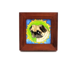 Framed Pug Art, Pug Dog Watercolor Art Illustration, Pug Decor, Gifts for Dog Lovers, Pug Gift, Funny Animal Art, Quirky Small Art, Pug Life