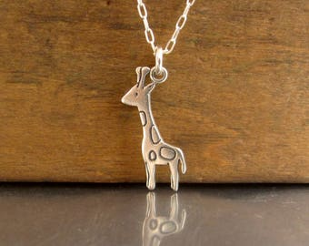 Sterling Silver Giraffe Necklace - Kids Giraffe Pendant