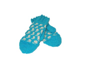 Adult Blue and White Wool Mittens
