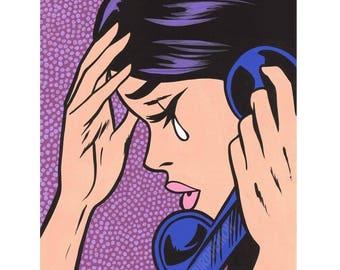 Telephone Crying Comic Girl Original Painting