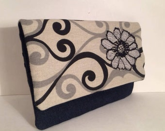 Fold over Clutch, Gray, Beige and black. Perfect Gift