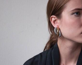 modernist spiral earrings / gold silver statement earrings / curly clip on earrings / 1765a