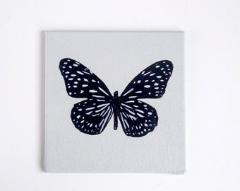 Original butterfly art on small canvas. Grey, white & black mixed media painting/collage. Nature wall art. Modern, contemporary. 10 x 10 cm