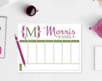 Family Planner Notepad - Family Monogram Notepad - 50 Color Choices - Weekly Planner Notepad - Daily Planner - Personalized Family Planner