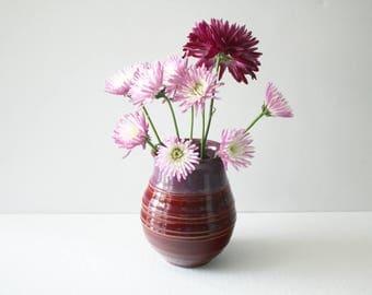 Red Merlot Pottery Vase  Wheel Thrown Home Decor Vase