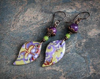 Bohemian artisan dangle earrings. Boho colorful jewelry. Handmade beads, purple green, lime lavender. Lightweight earrings.
