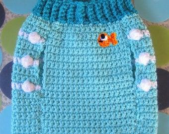 Size S - Dog Sweater Vest - Go Fish - Aqua - Ready to Ship Today