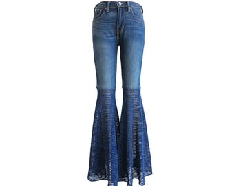Unisex Size 29 Fits Like Women's 28 - Super Wide Bellbottoms - Levis Unisex Slim Jeans - Crochet Pants -Elephant Flares-Free Shipping in USA
