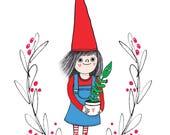 Funny Christmas card. Elf with plant Christmas card. Botanical Christmas card for plant lover or gardener. Santa's little helper xmas card