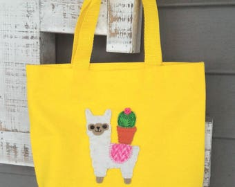 Alpaca, Llama,Tote Bag,Cactus, Alpaca Gift Bag,Textile Artwork,Alpaca Tote, Llama Tote,Alpaca Lover Gift,Applique Patch Handbag,Travel Bag