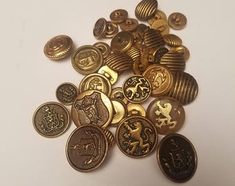 Vintage 1950's 60's Button Lot, Medieval Crest Griffin Brass 41 pieces, Sewing Coat