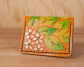 Thin Card wallet - Womens or Mens Front Pocket Wallet in the Persistence Pattern with flowers and leaves - Pink, Green, Antique Tan