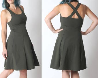 Khaki jersey dress, Army green flared dress with crossed straps in the back, Khaki womens dress, Sleeveless green dress, Empire waist dress