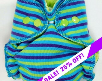 SALE! Cloth Diaper or Cover Custom Made - Turquoise Lime Purple Stripes - You Pick Size & Style - Gender Neutral Striped - Made to Order