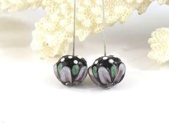 sra artisan lampwork glass headpins pair flameworked pattylakinsmith patty Lakinsmith matched pairs purple handmade