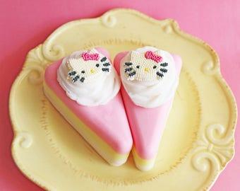 Cake Soap Slice Kitty - Cake Soap, Cat Cake Soap, Bakery Soap, Food Soap, Hello Soap, Bubblegum, Soap Favors, Bridal Shower, Dessert Soap