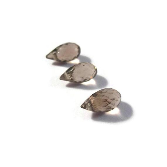 Three Smoky Quartz Beads, 3 Natural Gemstone Briolettes, 9mm x 4.5mm, Brown Stones for Making Jewelry (B-Sq3d)