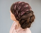 Chocolate Rose Stretch Lace Headwrap Garlands of Grace |  headcovering Hair Bridal veil headband