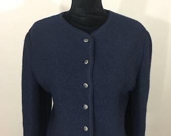 Vintage Cardigan, Navy Blue Cardigan, 1950's, 1950's Cardigan, Mad Men, Rockabilly, Vintage Sweater, Vintage Winter, Wool Sweater, Navy Swea