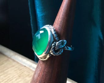 Rose Cut Green Onyx and Emeralds- Star Snake Talisman Ring