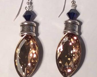 Swarovski Crystal Golden Shadow statement earrings