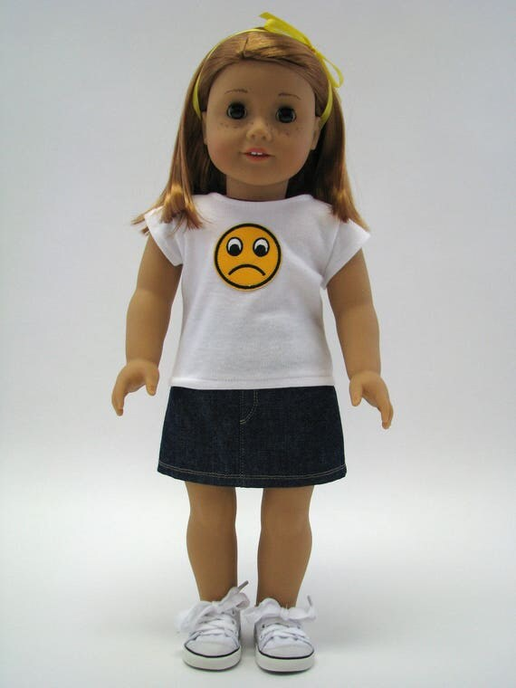 """18 Inch Doll Clothes - Made to Fit Like American Girl - 18 Inch Doll T-Shirt - Emoji Top - 18"""" Doll Top - Frown Sad Face"""