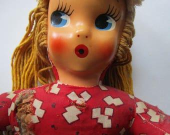 Adorable Plastic Face Rag Doll Vintage 1930s Blonde Blue Cutie TLC